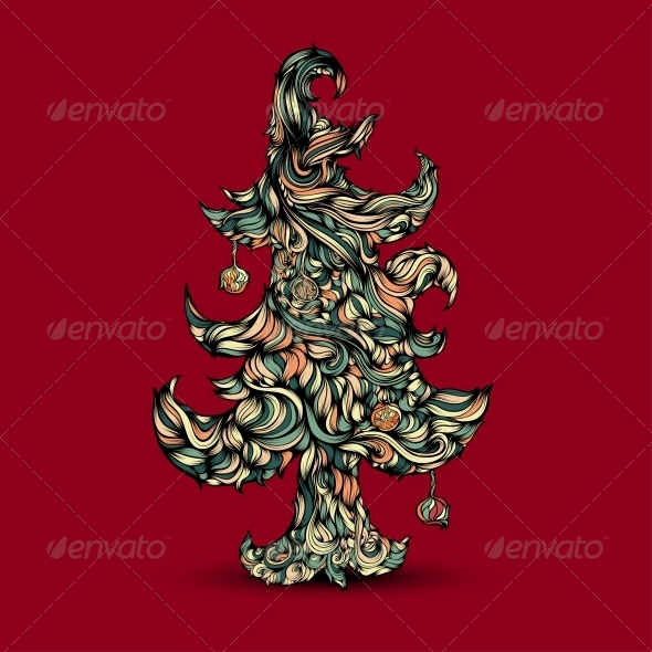 GraphicRiver Christmas Tree made of Hair 6084400