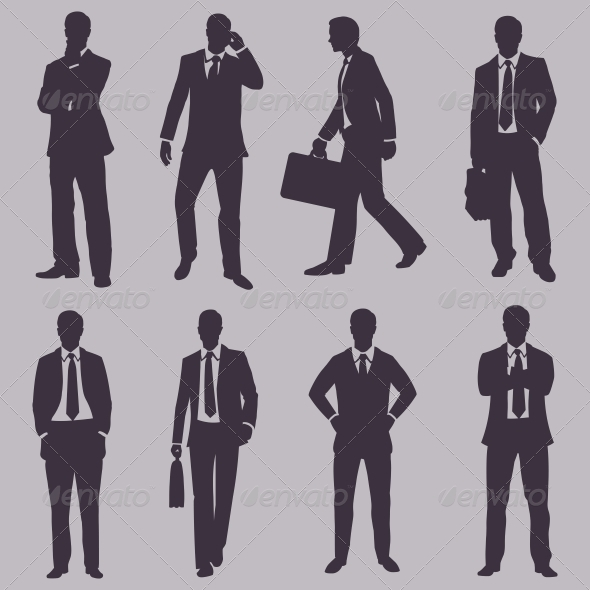 GraphicRiver Vector Set of Silhouettes of Business People 6084580