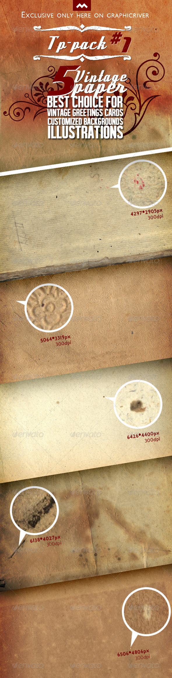 GraphicRiver TP-Pack#1 5 Vintage Premium Paper Texture 6086241