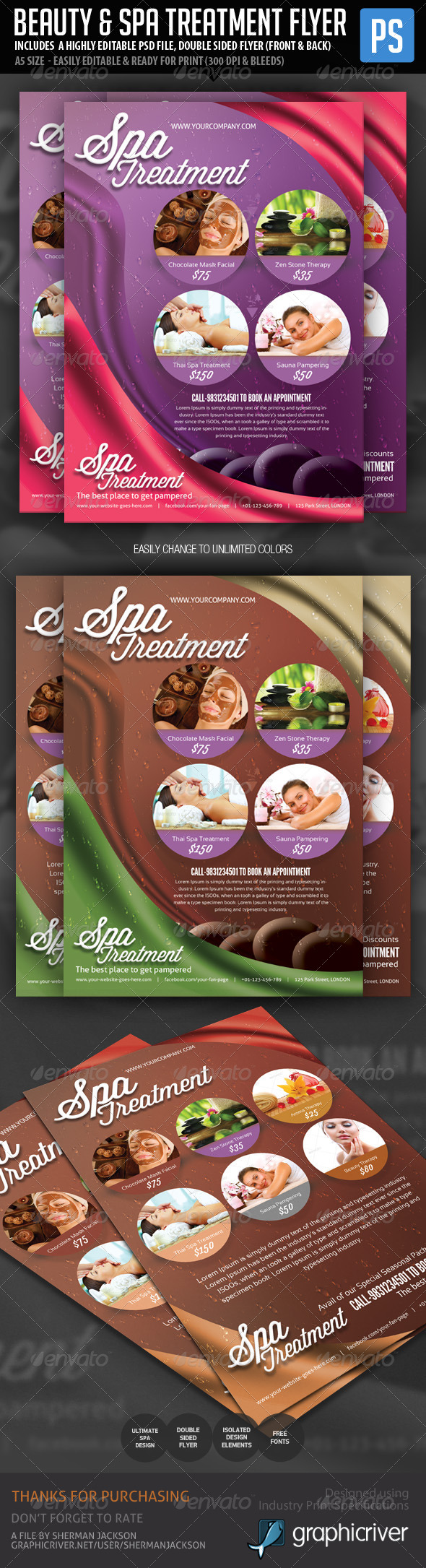 GraphicRiver Beauty & Spa Treatment Flyer 6086716