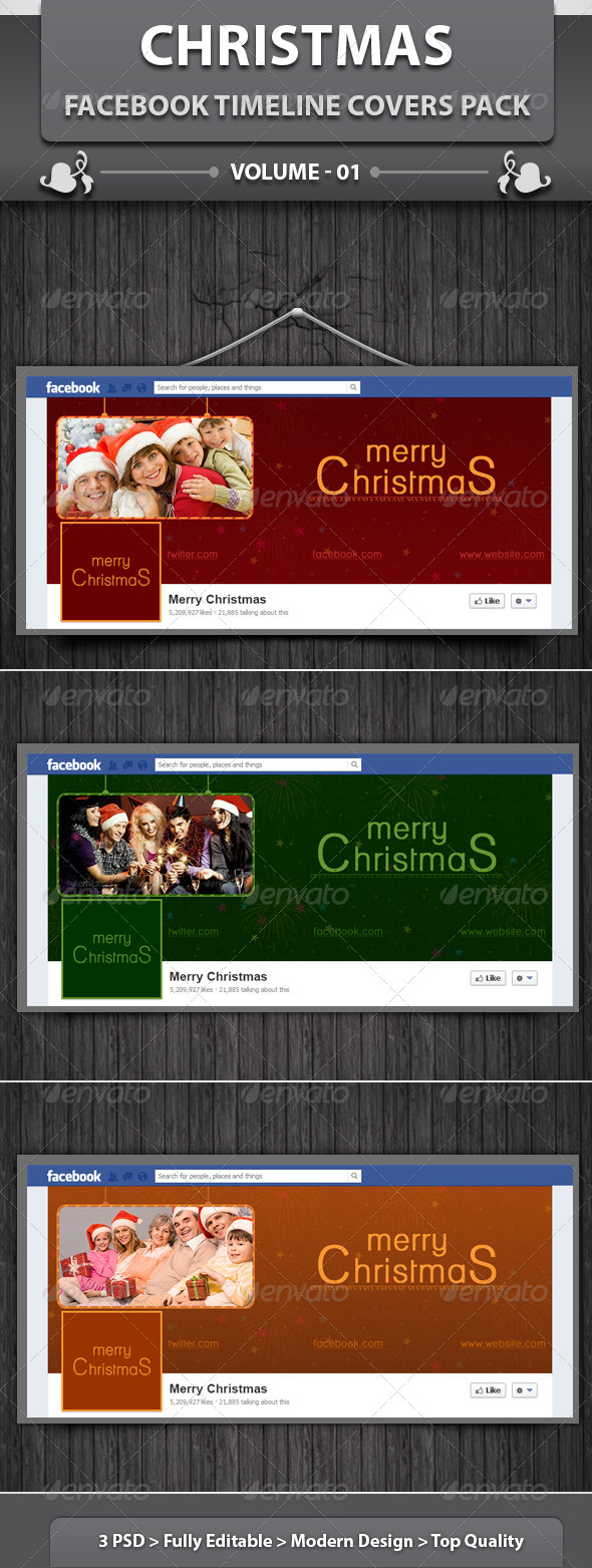 GraphicRiver Christmas Facebook Timeline Covers Pack v1 6087037