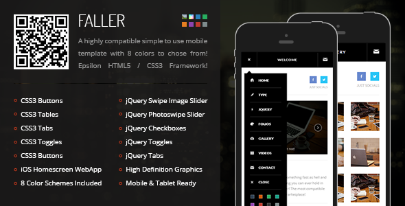 Faller | Mobile Retina HTML5 & CSS3 with WebApp - Mobile Site Templates
