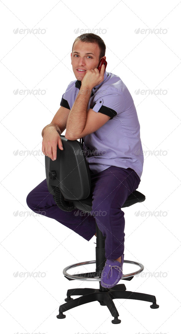 Young Man on the Phone  - Stock Photo - Images