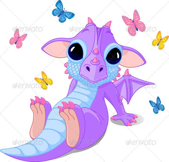 GraphicRiver Cute Baby Dragon 6088040