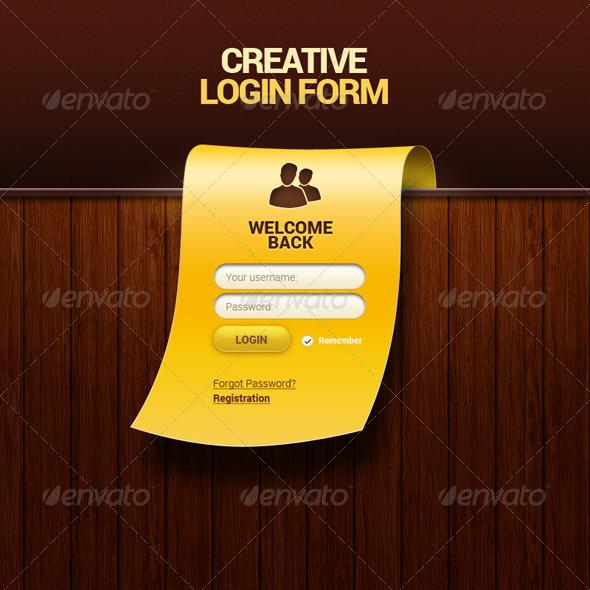 GraphicRiver Creative Login Form PSD 6088209