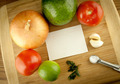Cutting Board With Vegetables And Ingredients With Blank Recipe Card - PhotoDune Item for Sale