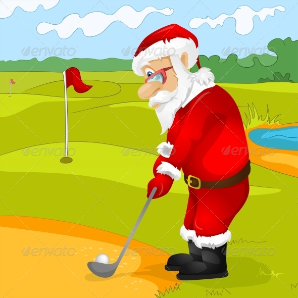 GraphicRiver Santa Claus Golfing 6089145
