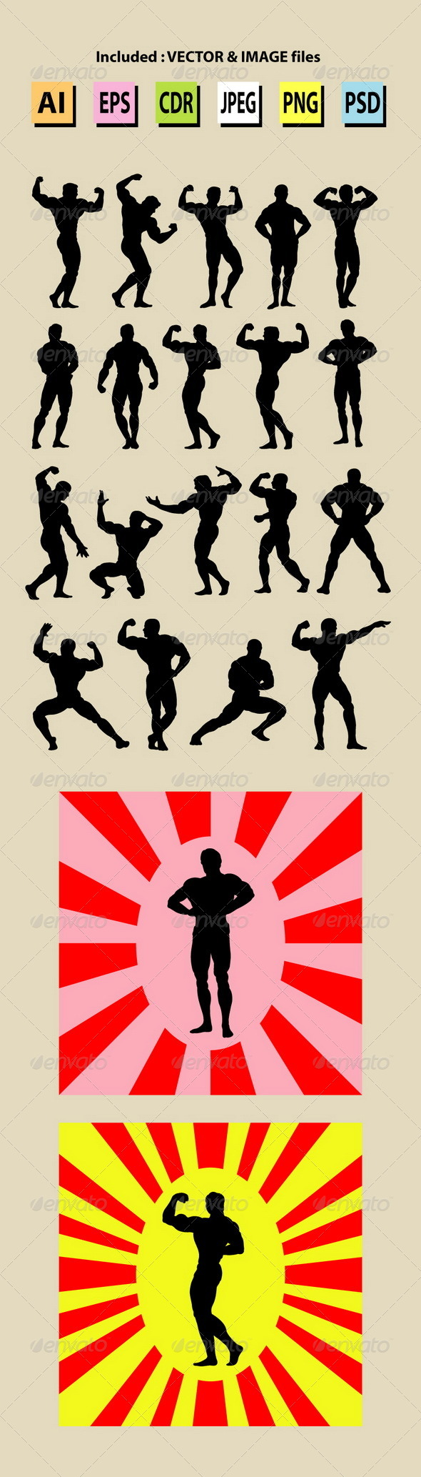 GraphicRiver Bodybuilding Silhouettes 6089816