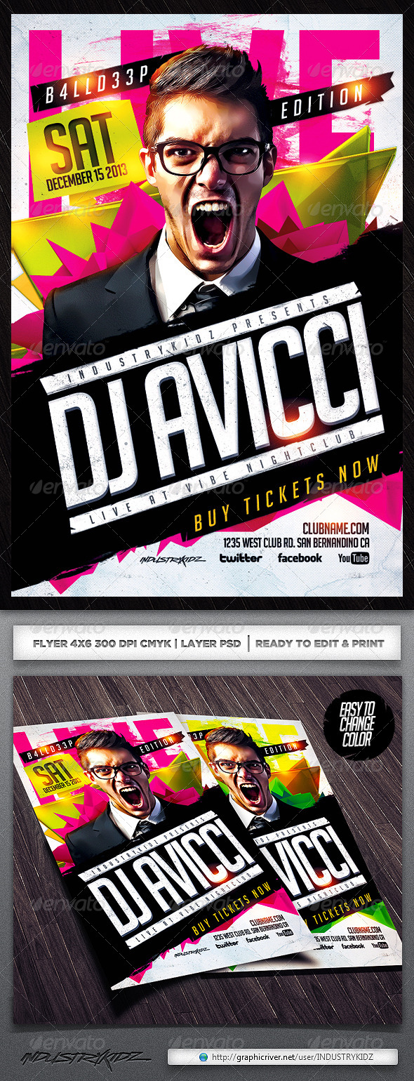 Electro House Music Flyer PSD - Clubs & Parties Events