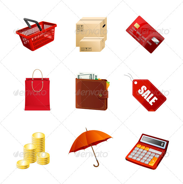 GraphicRiver Shopping Icons Set 6091572