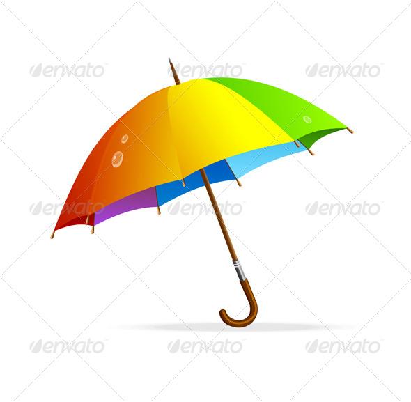 GraphicRiver Vector Rainbow Umbrella Isolated 6091617