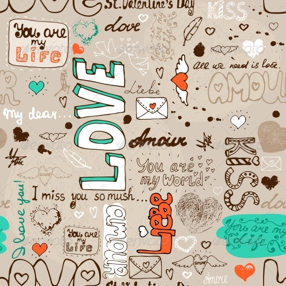 GraphicRiver Seamless Love Letter Pattern 6092006