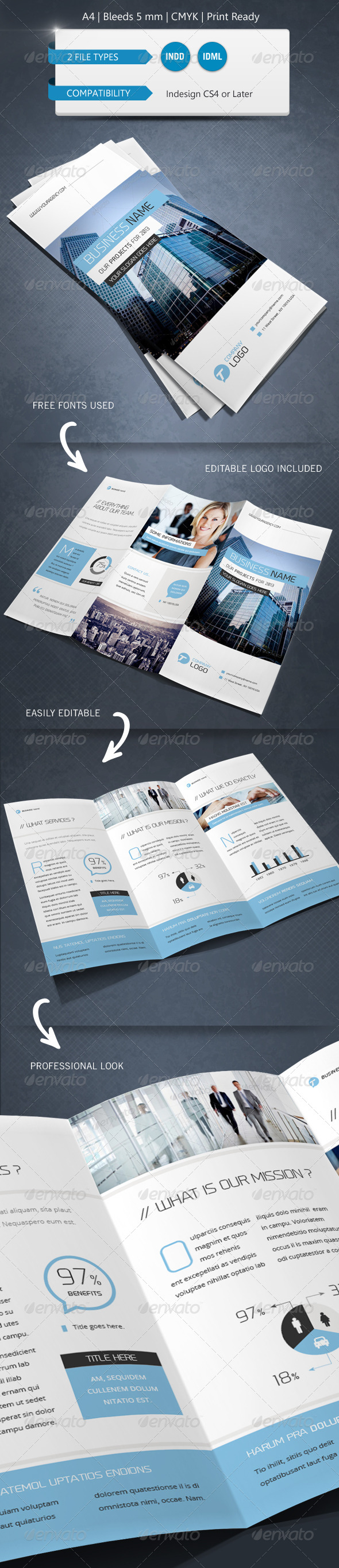 GraphicRiver Corporate Indesign Trifold Brochure Template 6092046