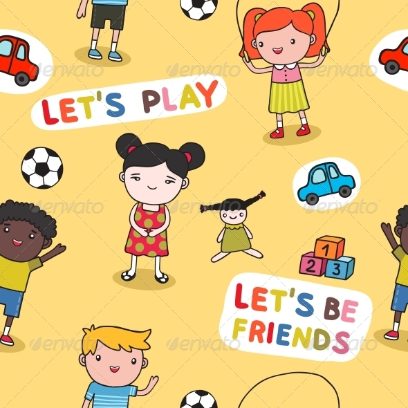 GraphicRiver Seamless kids background 6092064