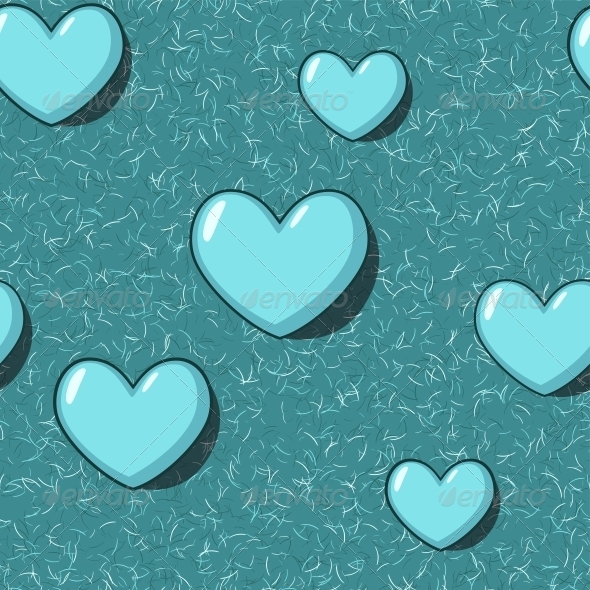 GraphicRiver Elegant Seamless Pattern with Blue Cartoon Hearts 6094609