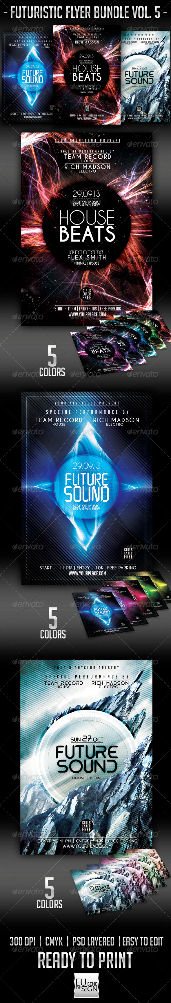GraphicRiver Futuristic Flyer Bundle Vol 5 6094972