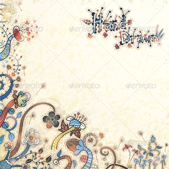 GraphicRiver Stylish Floral Hand Drawn Background 6095293