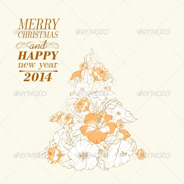 GraphicRiver Chrismas Fir Tree from Flowers 6095317