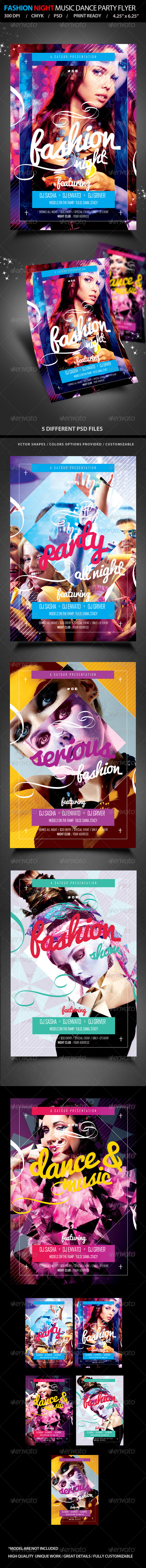 Fashion Night Music Dance Party Flyer - Clubs & Parties Events