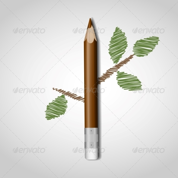 Wooden Pencil with Leaves