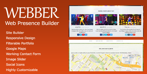 CodeCanyon Webber Web Presence Builder 6095573