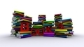 Colorful Piles Of Books With Red Text - PhotoDune Item for Sale