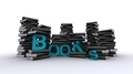 Piles Of Books With Blue Text - PhotoDune Item for Sale