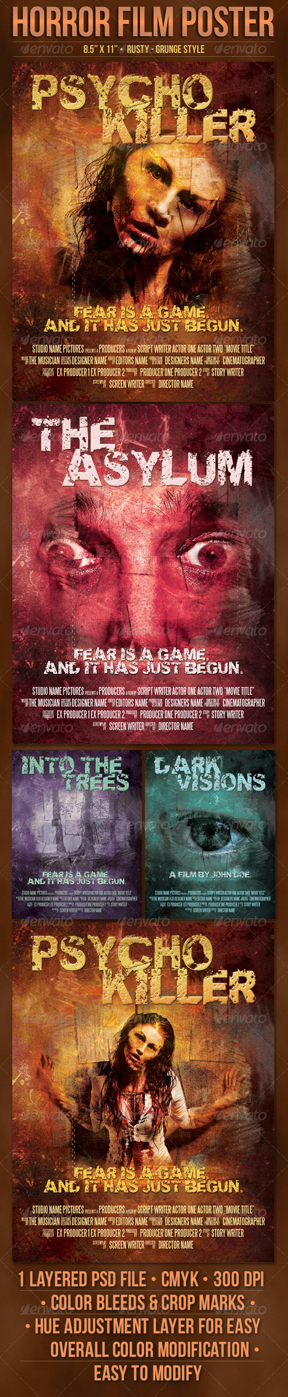 GraphicRiver Psycho Horror Film Poster Template 6095834