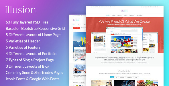 ThemeForest illusion Premium PSD Template 6096292