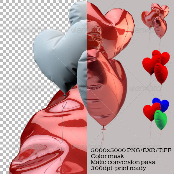 GraphicRiver Realistic Heart Ballons 6097027