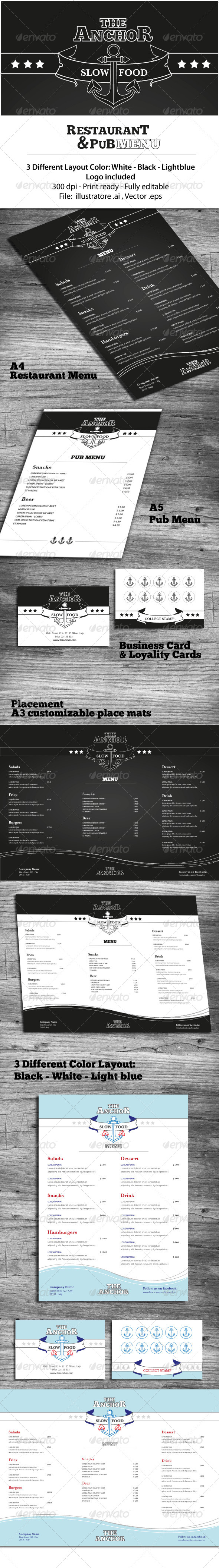 Restaurant & Pub Menu