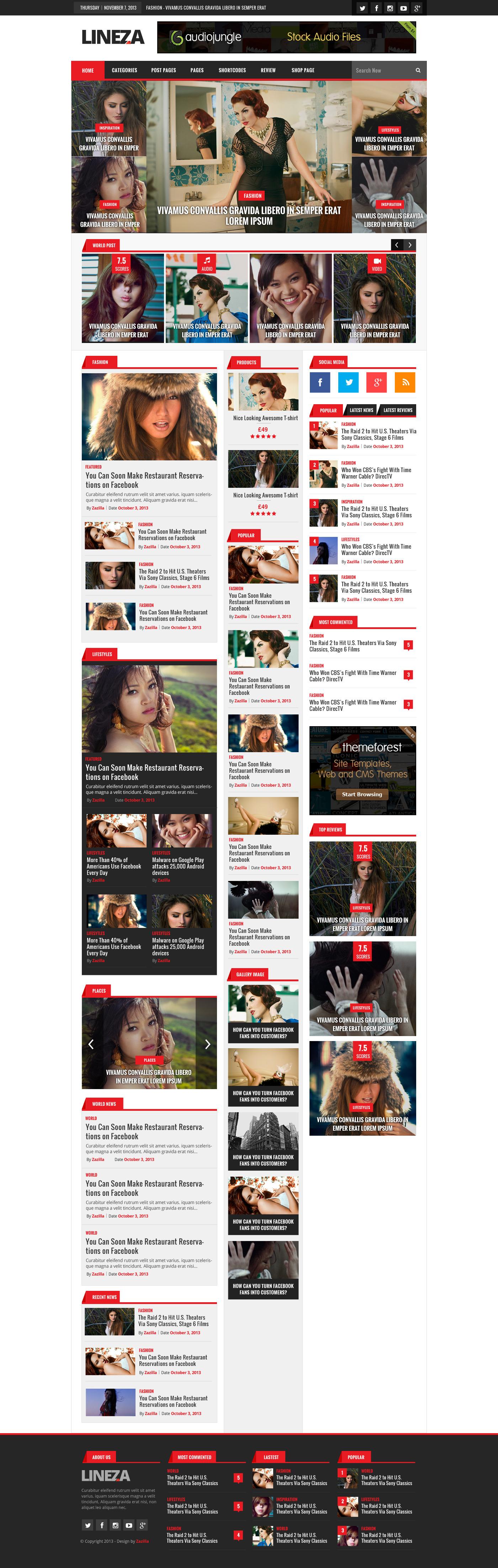 Lineza - Ultimate Unique Magazine PSD Template