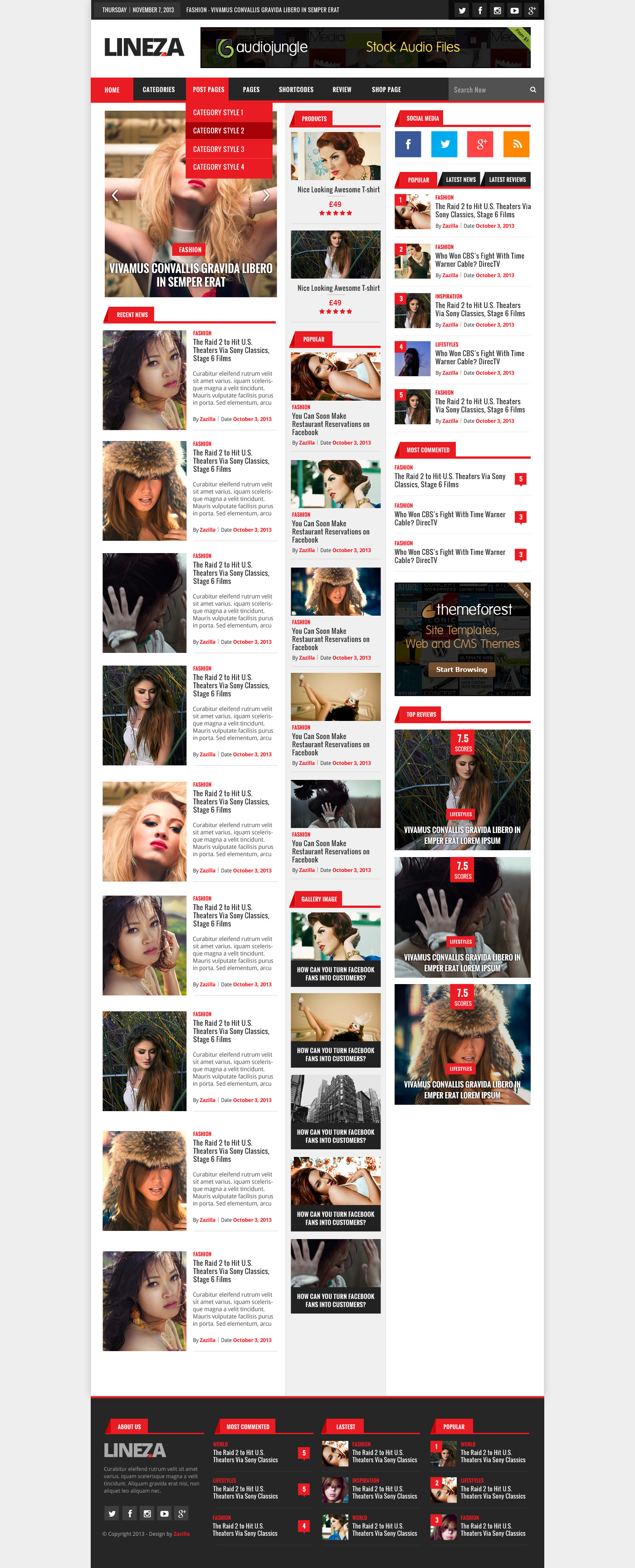 Lineza - Ultimate Unique Magazine PSD Template