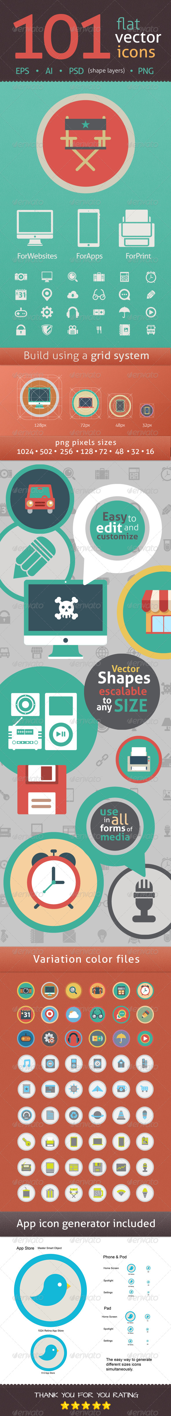 101 Flat Icons in Vector Format and Shape Layers