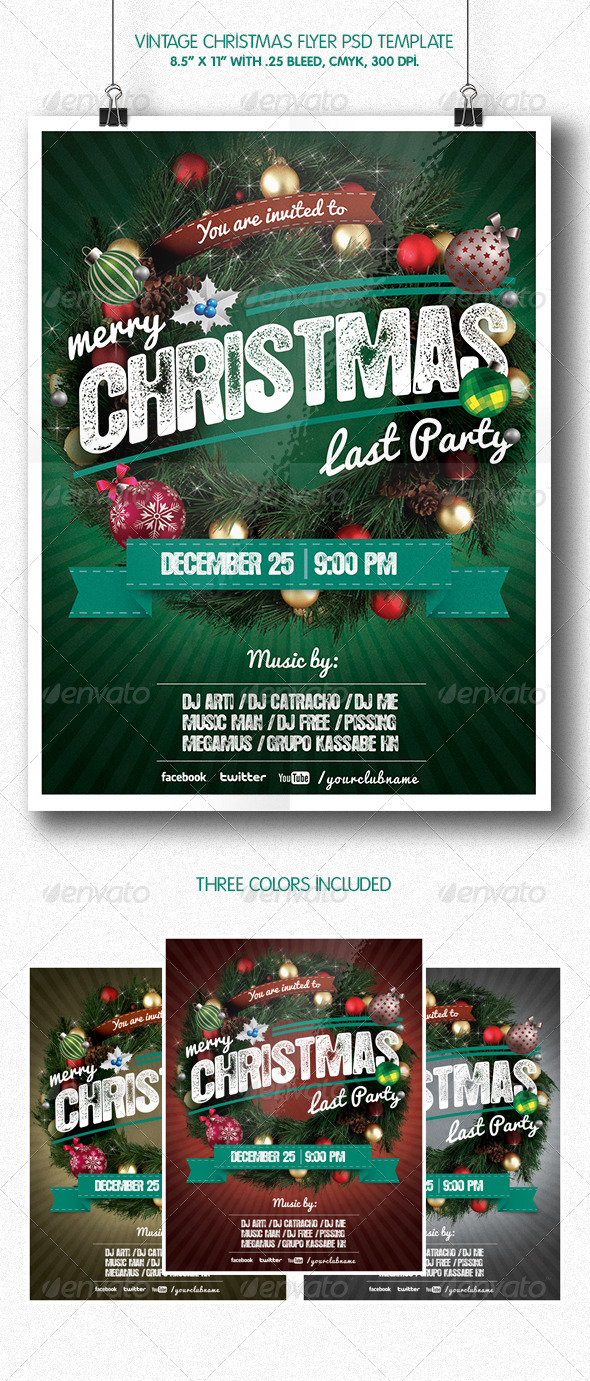 GraphicRiver Vintage Christmas Party Flyer Template 6098180