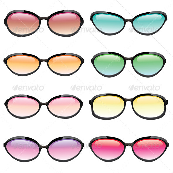 GraphicRiver Vector Colorful Set of Sunglasses 6098203