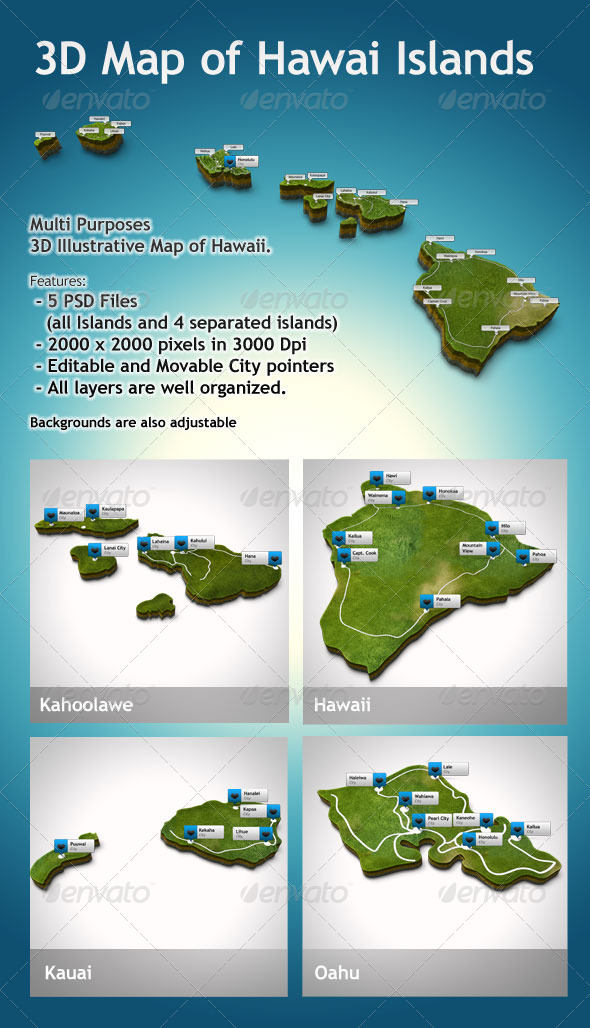 GraphicRiver 3D Hawaii Map Illustrative 6098280