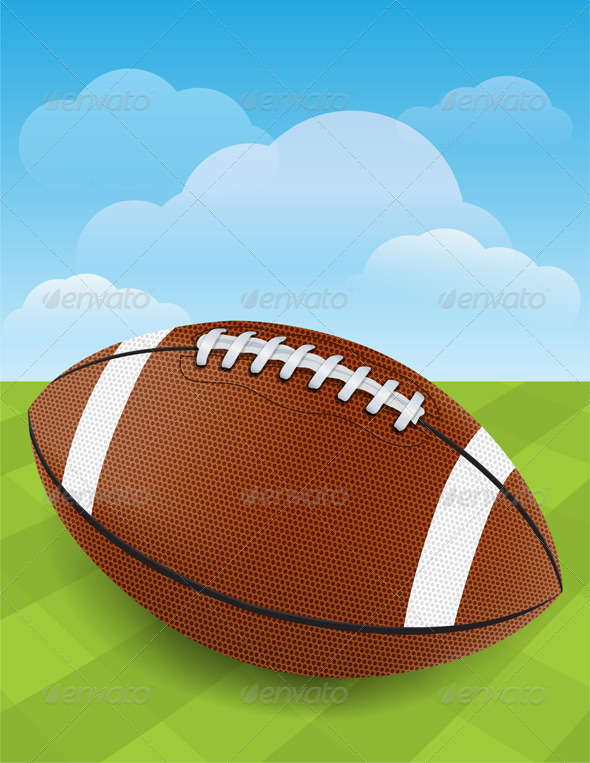 GraphicRiver Vector Football on Green Grass 6098411