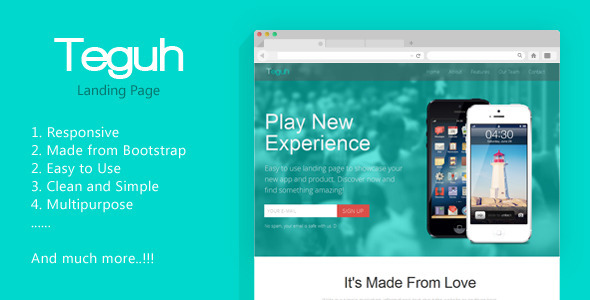 View live Demo for Teguh - Easy to use Responsive Landing Page Template