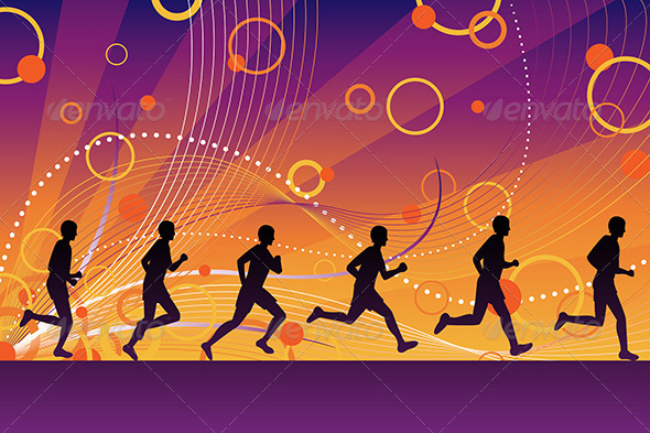GraphicRiver Silhouette Runners 6099330