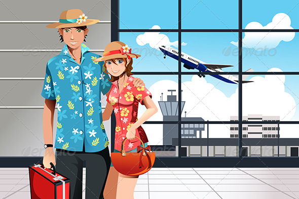 GraphicRiver Summer Traveling Couple 6099385