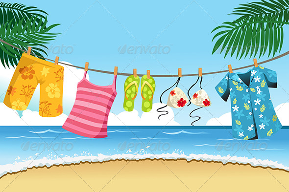 GraphicRiver Drying Summer Clothes 6099416