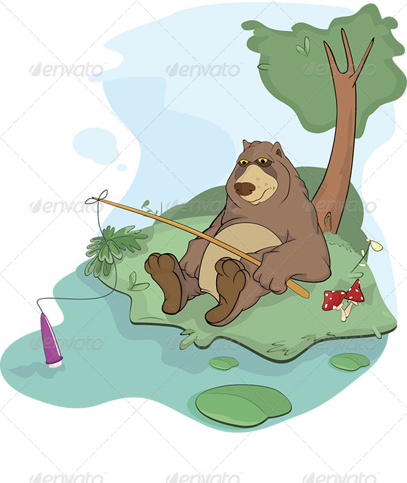 GraphicRiver Bear the Fisherman Cartoon 6099432