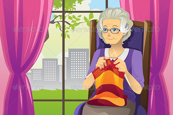 GraphicRiver Knitting Senior Woman 6099598