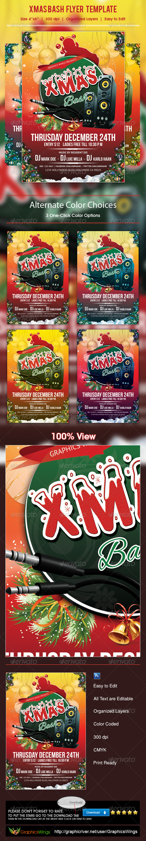 GraphicRiver Xmas Bash Flyer Template 6100392