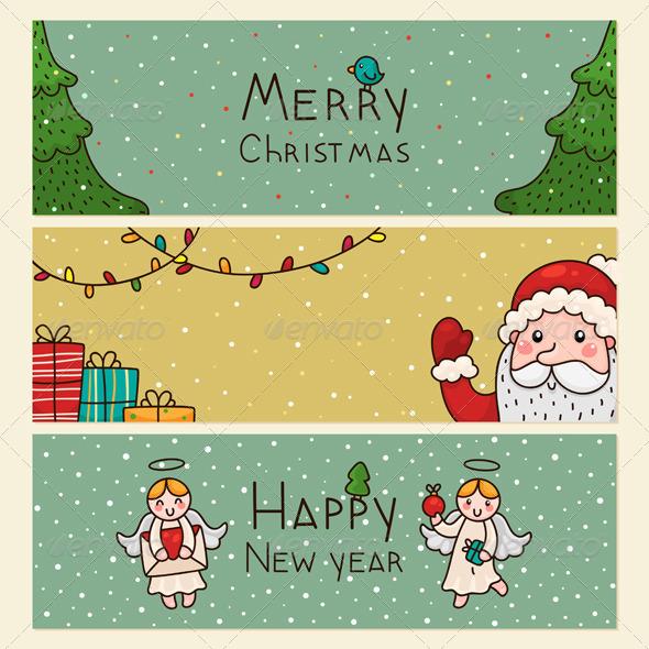 Christmas and New Years Horizontal Banners
