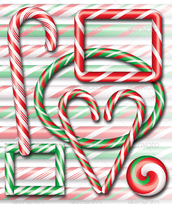 GraphicRiver Candy Cane Brushes with Ready Made Assets 6100556