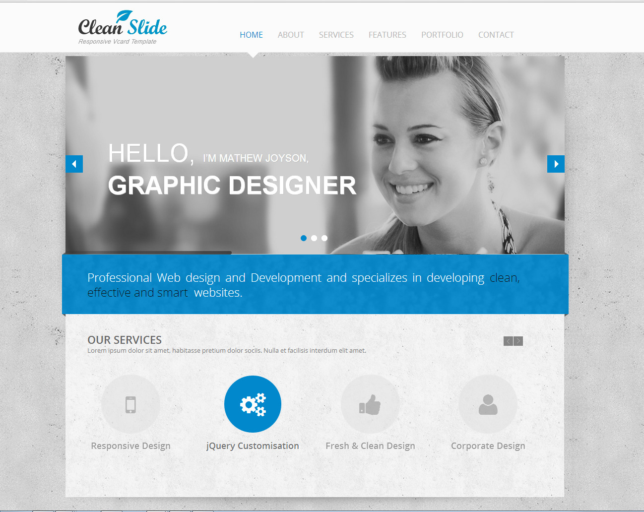 Clean Slide Responsive HTML Template / Vcard