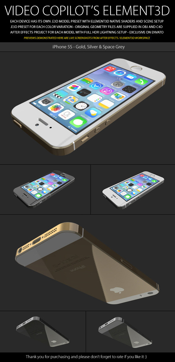 Element3D - iPhone 5S - 3DOcean Item for Sale