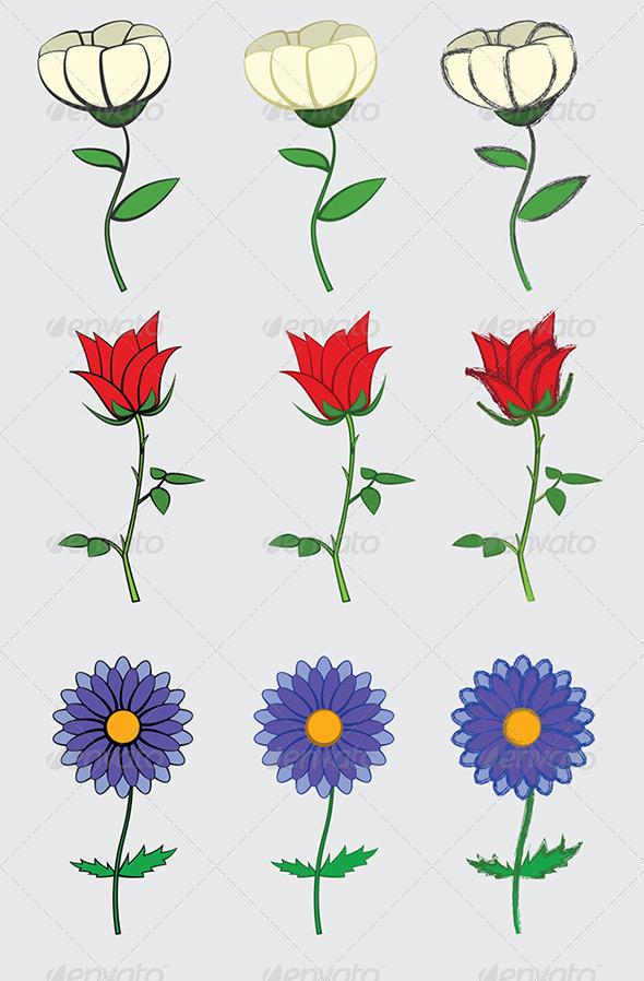 GraphicRiver Simple Cartoon Flowers Set 6102228